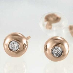 ペアピアス 一粒石 天然ダイヤ 18金ピンクゴールド キャッチ付き 丸玉ピアス バルーンピアス 4mmサイズ|skybell