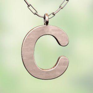 (名前 ネーム イニシャル) ネックレス 大文字のC  k10ピンクゴールド skybell