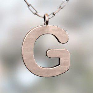 (名前 ネーム イニシャル) ネックレス 大文字のG  k10ピンクゴールド skybell