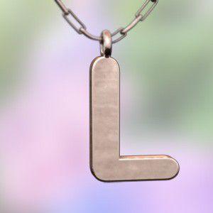 (名前 ネーム イニシャル) ネックレス 大文字のL  k10ピンクゴールド skybell