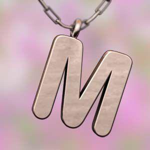 (名前 ネーム イニシャル) ネックレス 大文字のM  k10ピンクゴールド skybell