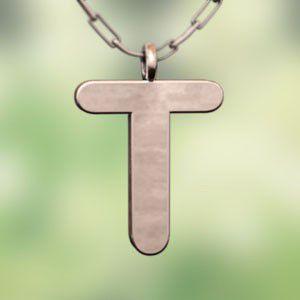 (名前 ネーム イニシャル) ネックレス 大文字のT  k10ピンクゴールド skybell