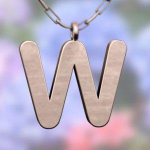 (名前 ネーム イニシャル) ネックレス 大文字のW  k10ピンクゴールド skybell
