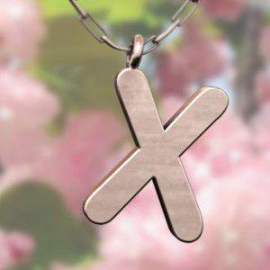 (名前 ネーム イニシャル) ネックレス 大文字のX  k10ピンクゴールド skybell