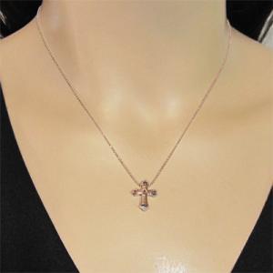 ペンダント ネックレス ファイブストーン クロス十字架 ガーネット 1月の誕生石 k10ピンクゴールド skybell 02