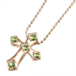 ペンダント ネックレス ファイブストーン クロス十字架 ペリドット 8月誕生石 10金ピンクゴールド|skybell