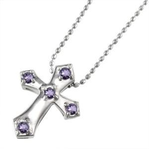 クロス ファイブ ストーン ペンダント アメジスト(紫水晶) ホワイトゴールドk10|skybell
