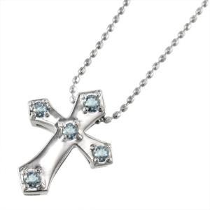 アクアマリン ペンダント ネックレス 十字架 5ストーン 3月の誕生石 10金ホワイトゴールド|skybell