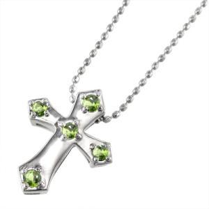 k10ホワイトゴールド ペンダント ネックレス クロス デザイン 5ストーン 8月誕生石 ペリドット|skybell