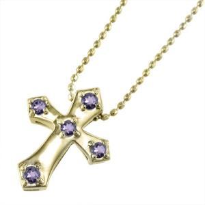 10kイエローゴールド クロス十字架 ペンダント ネックレス ファイブストーン アメシスト(紫水晶)|skybell