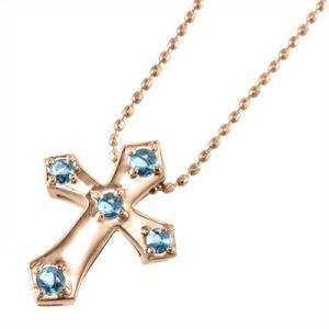 18金ピンクゴールド ペンダント ネックレス クロス十字架 ファイブストーン 11月の誕生石 ブルートパーズ(青)|skybell