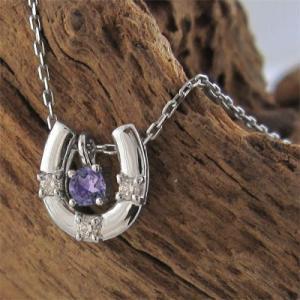 ジュエリーネックレス プラチナ900 お守りに馬蹄 アメジスト ダイヤモンド 2月誕生石|skybell|05