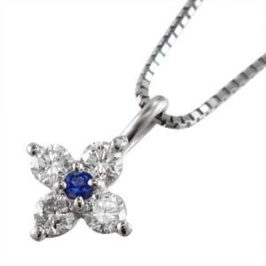 クロス ペンダント ネックレス サファイヤ 天然ダイヤモンド 18金ホワイトゴールド|skybell