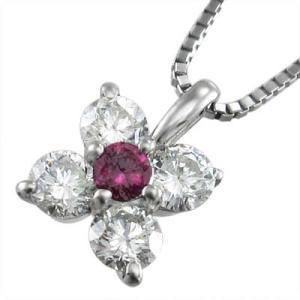ペンダントネックレス・18kホワイトゴールド・5ストーン・ルビー・天然ダイヤモンド・7月誕生石|skybell