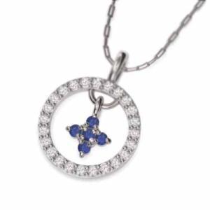 プラチナ900 ペンダント ネックレス クロス 9月誕生石 ブルーサファイア|skybell
