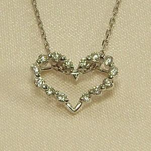 ジュエリーネックレス・オープンハート型・天然ダイヤモンド・4月誕生石・Pt900|skybell