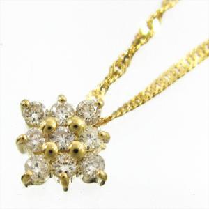 ジュエリーペンダント・k18イエローゴールド・デザインフラワー・天然ダイヤモンド・4月誕生石|skybell
