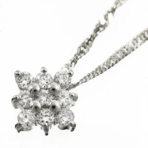 18金ホワイトゴールド/フラワー(花)/ペンダントネックレス/ダイヤモンド|skybell