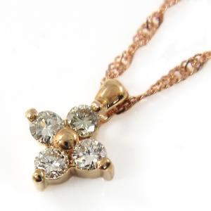 ぷちペンダントネックレス ダイアモンド クロス 1粒石 18金ピンクゴールド 4月誕生石|skybell