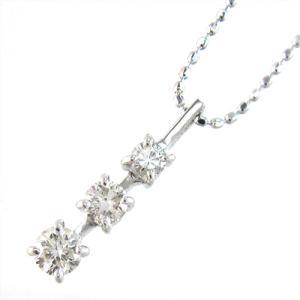 18金ホワイトゴールド・ネックレス・スリーストーン・天然ダイヤモンド・3連|skybell