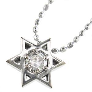 ホワイトゴールドk18 ペンダント ネックレス 六芒星 一粒石 4月誕生石 ダイアモンド|skybell