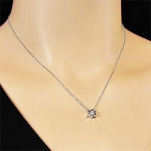 ホワイトゴールドk18 ペンダント ネックレス 六芒星 一粒石 4月誕生石 ダイアモンド|skybell|02