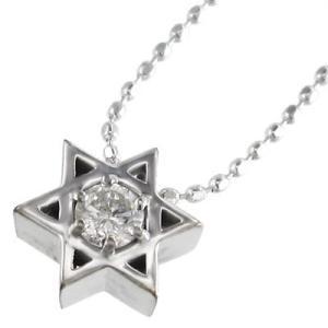 ホワイトゴールドk18 ペンダント ネックレス 六芒星 一粒石 4月誕生石 ダイアモンド|skybell|03