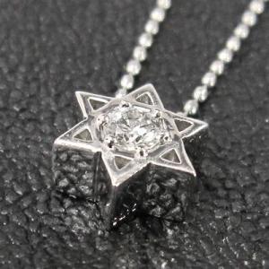 ホワイトゴールドk18 ペンダント ネックレス 六芒星 一粒石 4月誕生石 ダイアモンド|skybell|05