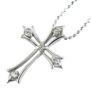 ジュエリー ペンダント 5石 デザイン クロス ダイヤモンド 4月誕生石 18金ホワイトゴールド|skybell