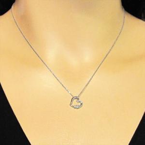 天然ダイヤモンド ペンダント ネックレス オープンハート 4月誕生石 プラチナ900|skybell|02