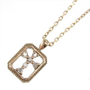 ペンダント ネックレス ダイヤモンド クロス k10ピンクゴールド 4月誕生石|skybell