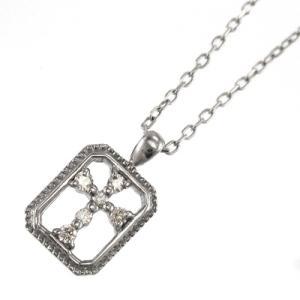 天然ダイヤ ペンダント ネックレス クロス十字架 10kホワイトゴールド 4月誕生石|skybell