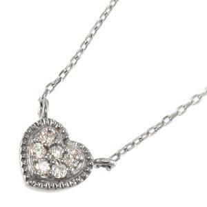 チェーン ペンダント スウィート ハート 天然ダイヤモンド k10ホワイトゴールド 4月誕生石|skybell