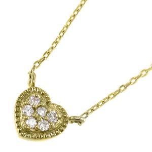 ペンダント ネックレス ハート ダイアモンド 10金イエローゴールド 4月誕生石|skybell