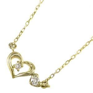 ペンダント ネックレス ハート 天然ダイヤモンド k10イエローゴールド 4月誕生石|skybell