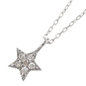 ペンダント ネックレス ラッキー スター ダイアモンド 4月誕生石 10kホワイトゴールド|skybell