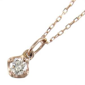 チェーン ペンダント 1粒 石 天然ダイヤ 4月誕生石 k10ピンクゴールド|skybell
