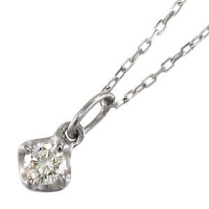 チェーン ペンダント 10kホワイトゴールド 1粒 石 天然ダイヤ 4月誕生石|skybell