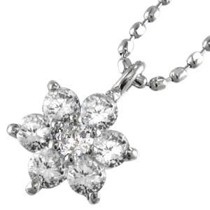 チェーン ペンダント Flower フラワー ダイアモンド 4月誕生石 18kホワイトゴールド|skybell
