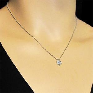 チェーン ペンダント Flower フラワー ダイアモンド 4月誕生石 18kホワイトゴールド|skybell|02