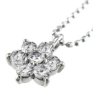 チェーン ペンダント Flower フラワー ダイアモンド 4月誕生石 18kホワイトゴールド|skybell|03