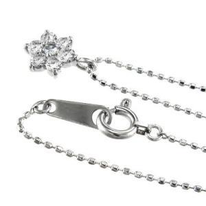 チェーン ペンダント Flower フラワー ダイアモンド 4月誕生石 18kホワイトゴールド|skybell|04