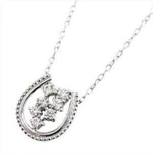 プラチナ900 チェーン ペンダント 天然ダイヤモンド 4月誕生石 馬蹄 デザイン|skybell