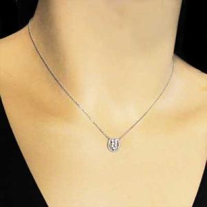 プラチナ900 チェーン ペンダント 天然ダイヤモンド 4月誕生石 馬蹄 デザイン|skybell|02