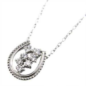 プラチナ900 チェーン ペンダント 天然ダイヤモンド 4月誕生石 馬蹄 デザイン|skybell|04
