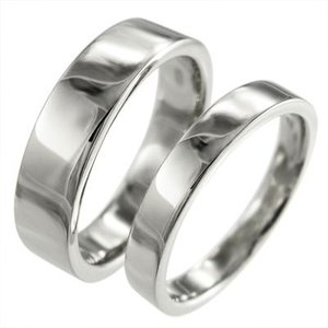 平らな指輪 ペア 指輪 地金 18金ホワイトゴールド|skybell