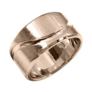 メンズ 地金 幅広 指輪 ピンクゴールドk18 約10mm幅 ずっしり重量感 特大サイズ|skybell
