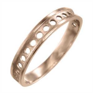 平たい リング ピンキー 小指 リング 地金 丸 型抜き 10kピンクゴールド 約3mm幅|skybell
