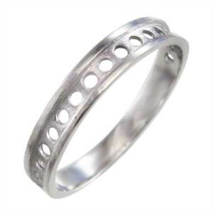 平打ち 指輪 小指 指輪 丸の型抜き スタンダード k10ホワイトゴールド 約3mm幅|skybell