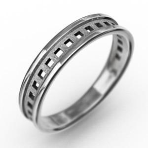 k10ホワイトゴールド 四角抜き デザイン 平らな指輪 ピンキー 小指 リング 地金 約3mm幅|skybell